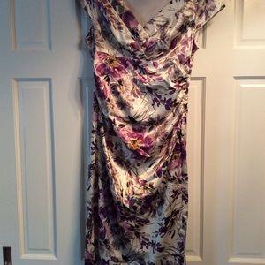 Flowered Satin Dress
